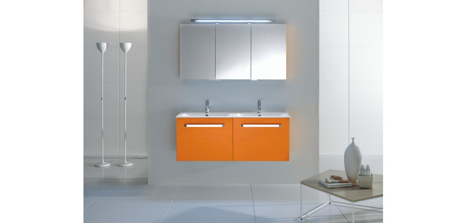 orange badm bel matt oder hochglanz bad direkt. Black Bedroom Furniture Sets. Home Design Ideas