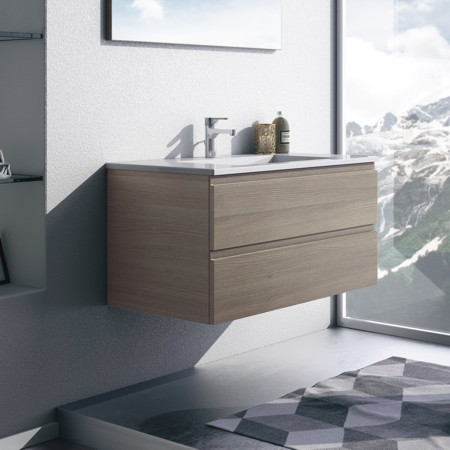 Rechteckiger Waschtisch mit hellen holz-farbenen Badmöbeln aus der Badmöbel-Serie FLASH.