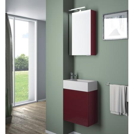 Kleine Badmöbel, kleiner Waschtisch und kleiner Spiegelschrank aus der Badmöbel-Serie FLASH.