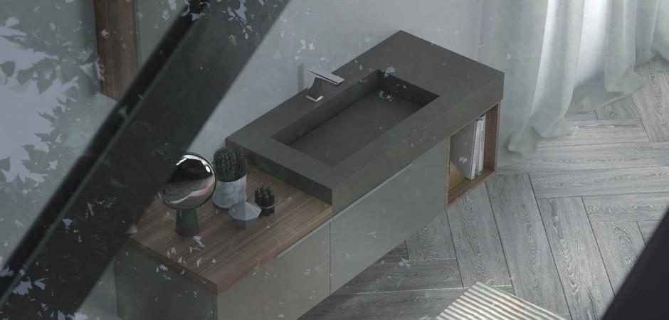 Brauner Waschtisch - Designer-Waschtisch auf Maß mit Badmöbeln in Beton-Optik.