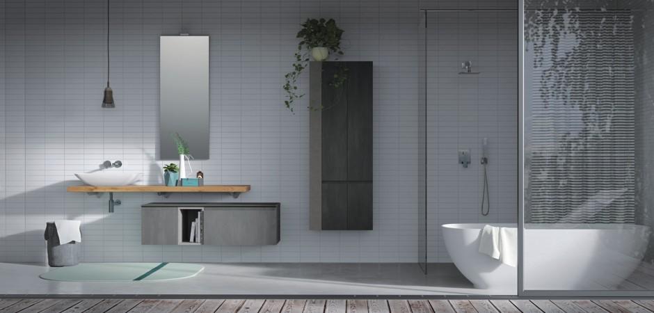 Elegante puristische Badmöbel-Kombination mit Auflagewaschtisch auf Holzplatte.