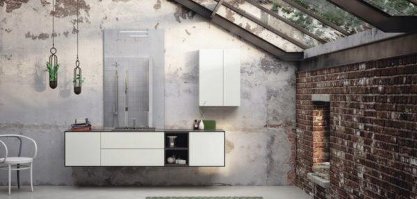 Gestaltungsbeispiel eines Waschplatzes mit Waschtisch, Spiegel und Badmöbeln