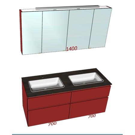 Badplanung HPL-Waschtisch auf Maß, Breite 140 cm