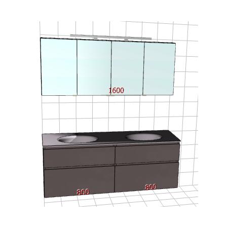 Badplanung Doppelwaschtisch auf Maß, Breite 160 cm, Material Glas