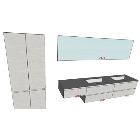Badplanung Doppelwaschtisch auf Maß, Breite 240 cm, Material Geacryl