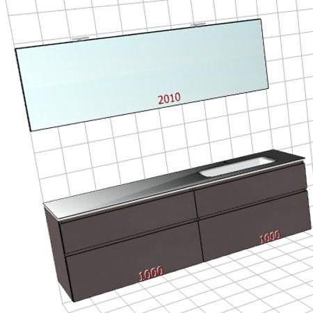 Badplanung Glaswaschtisch auf Maß, Breite 200 cm