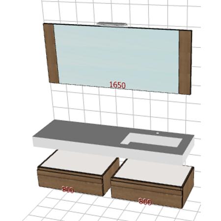 Badplanung Tecnoril-Waschtisch auf Maß, Breite 165 cm