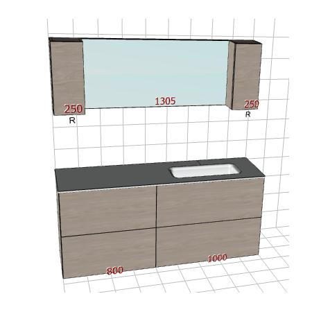 Badplanung Glaswaschtisch auf Maß, Breite 180 cm