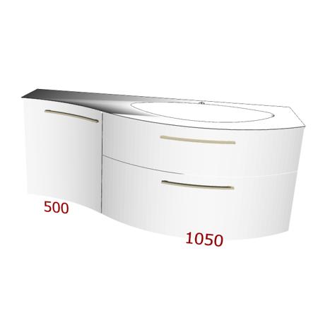 Badplanung Geschwungener Geacryl-Waschtisch, Breite 156 cm