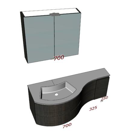 Badplanung Geschwungener Tecnoril-Waschtisch auf Maß Breite 128 cm