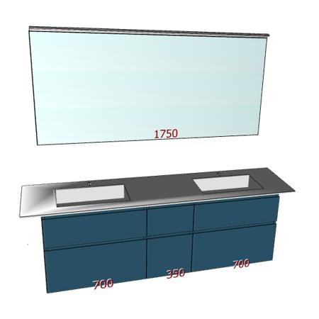 Badplanung Geacryl-Doppelwaschtisch auf Maß Breite 200 cm