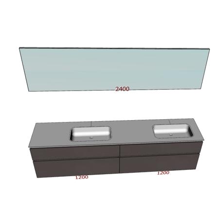 Badplanung Tecnoril-Doppelwaschtisch auf Maß Breite 240 cm