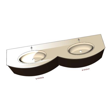 Badplanung Glas-Doppelwaschtisch auf Maß Breite 210 cm