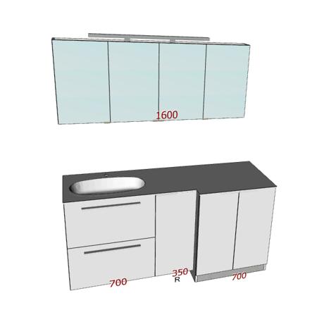 Badplanung mit Waschtisch 175 cm und Unterschrank für Waschmaschine, Spiegelschrank.