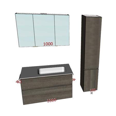 Badplanung mit Waschtisch 100 cm, Unterschrank mit Schubladen, Hochschrank, Spiegelschrank.
