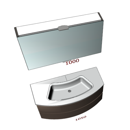 Badplanung Gerundeter Waschtisch mit Schubladen, Breite 105 cm, Klapp-Spiegelschrank.