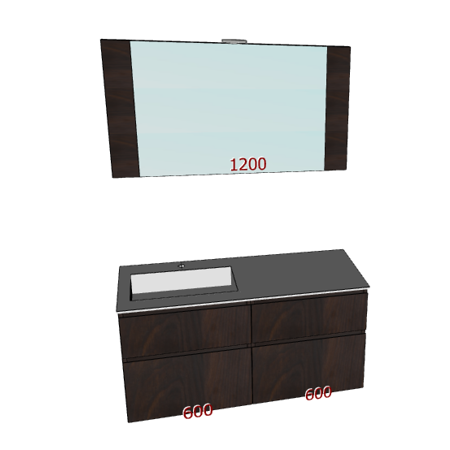 Badplanung mit Waschtisch 120 cm, Waschbecken links, Badmöbel mit Schubladen, Wandspiegel.