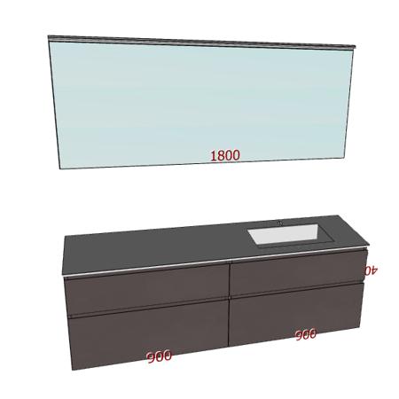 Badplanung mit Waschtisch 180 cm, Waschbecken rechts, Badspiegel auf Maß 190 cm, Badmöbel mit Schubladen.