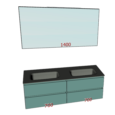 Badplanung Doppel-Waschtisch aus Glas, Breite 140 cm.