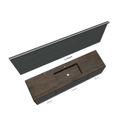 Badplanung Waschtisch 190 cm, Waschbecken mittig, Schubladen, Türen, Wandspiegel 190 cm.