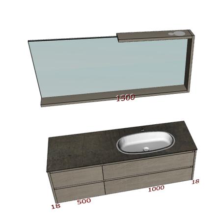 Badplanung Waschtisch 150 cm, Schubladen, Waschbecken rechts, Spiegel mit Bord.