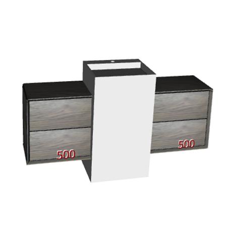 Badplanung mit Designer-Säulenwaschtisch FONTE und 2 Unterschränke jeweils 50 cm mit Schubladen.