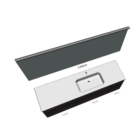Badplanung mit Waschtisch 185 cm, Waschbecken mittig-rechts, Badmöbel mit Schubladen, Spiegel auf Maß.