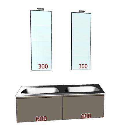 Badplanung Doppelwaschtisch 120 cm, Schubladen, 2 Spiegel auf Maß.
