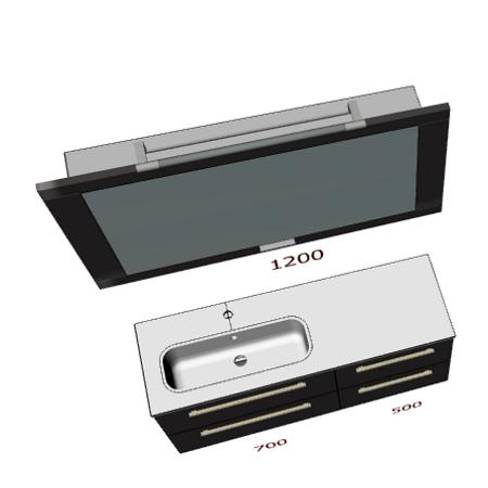 Badplanung mit Waschtisch 120 cm, Waschbecken links, Klapp-Spiegelschrank 120 cm.