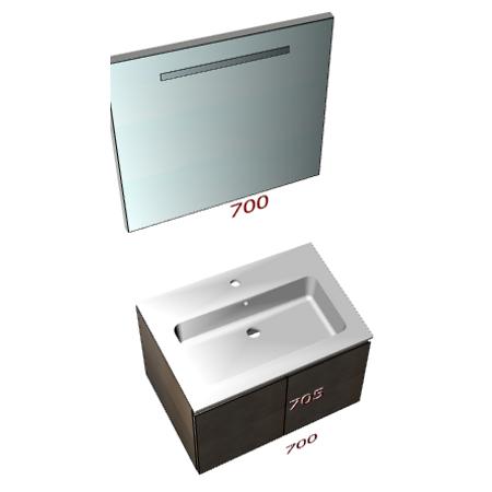 Badplanung mit Mineralguss-Waschtisch 70 cm mit Türe und Badezimmerspiegel 70 cm.