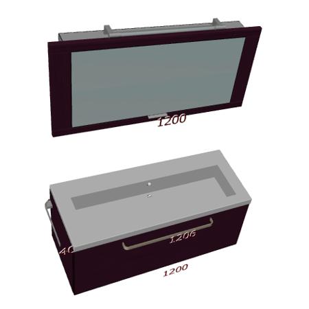 Badplanung Waschtisch 120 cm, Klapp-Spiegelschrank 120 cm, Unterschrank mit Auszug.
