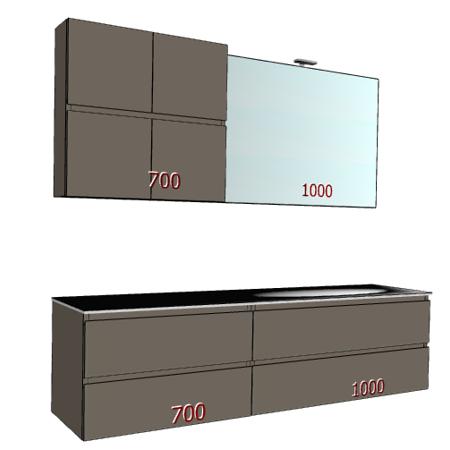 Badplanung mit Waschtisch 170 cm, Waschbecken rechts, Unterschrank mit Schubladen, Oberschrank mit Türen.
