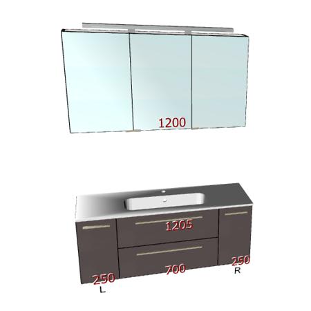 Badplanung mit Waschtisch 120 cm, Spiegelschrank, Unterschrank mit Schubladen und Türen.