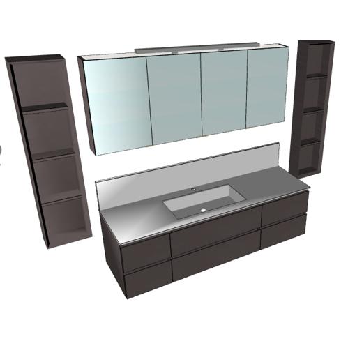 Badplanung mit Waschtisch 165 cm, Spiegelschrank 160 cm, Wandregale, Wischleiste