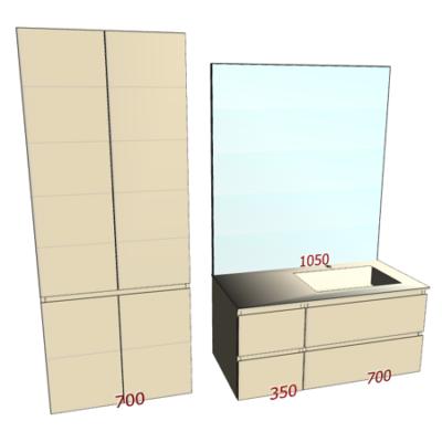 Badplanung mit Waschtisch 105 cm, Hochschrank, Unterschrank mit 4 Schubladen.