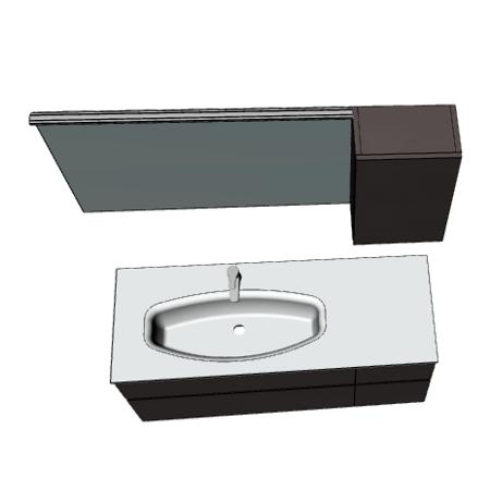 Badplanung mit Waschtisch 135 cm, Unterschrank mit Schubladen, Oberschrank mit Tür.