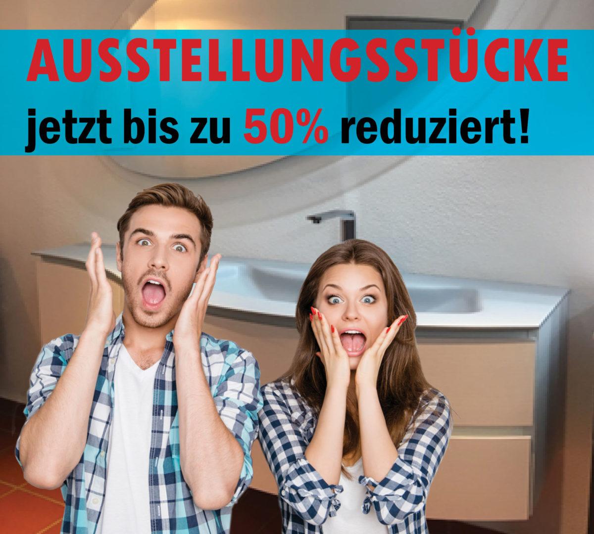 Plakat Abverkauf Ausstellungs-Badmöbel und Waschtische