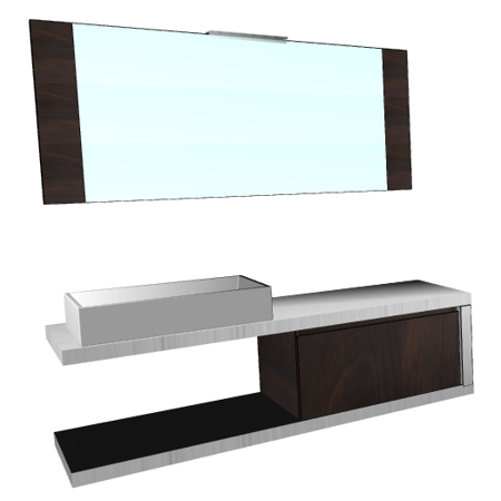 Badplanung mit Auflagewaschtisch und Waschtischplatten für Auflagebecken, Breite 150 cm.
