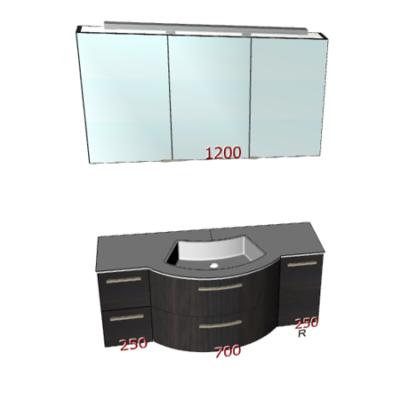 Badplanung mit geschwungenem Waschtisch 120 cm und großem Spiegelschrank