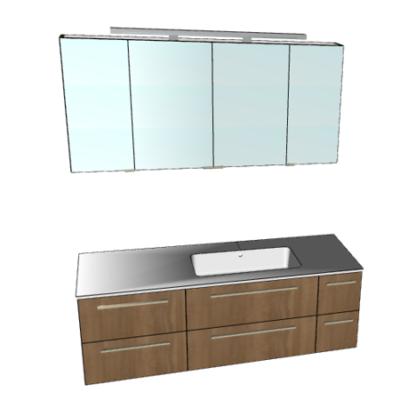 Badplanung mit Waschtisch 145 cm und Spiegelschrank 140 cm