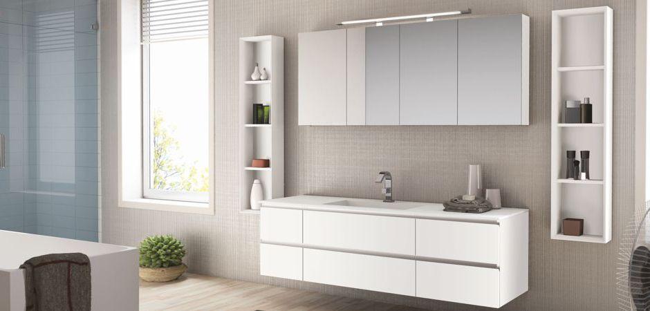 Waschtisch mit Unterbau aus Tecnoril, Spiegelschrank 160 cm