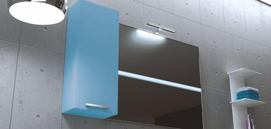 Badschrank Oberschrank mit Tür, Badspiegel und Leuchte