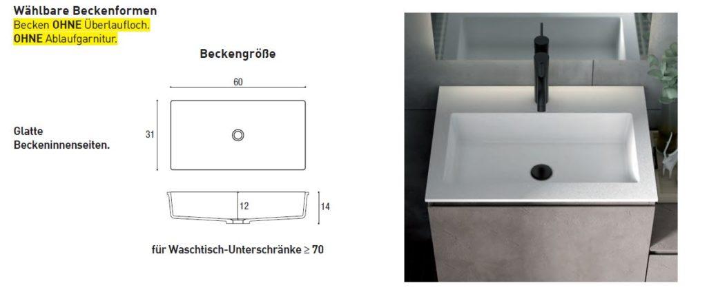 Waschbeckenform für Mineralguss-Waschtische in Concrete