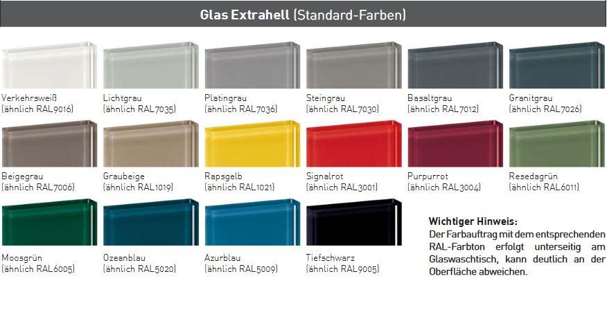 Oberflächen und Farben Glaswaschtische