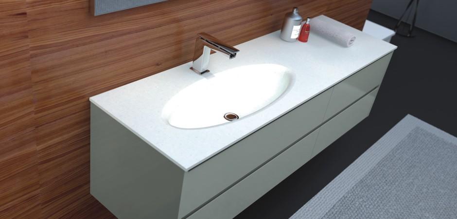 Waschtische mit fugenlos integriertem Waschbecken lassen sich schnell und einfach reinigen.